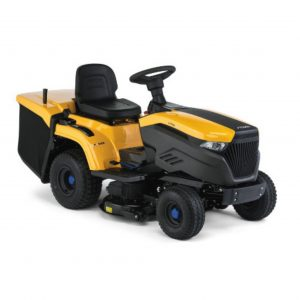 STIGA E-RIDE C500 battery operated collector ride on mower available from Meldrums Garden Equipment and Machinery, Cupar, Fife.